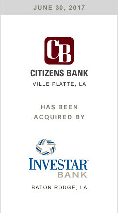 Citzens Bank has been acquired by Investar Bank.
