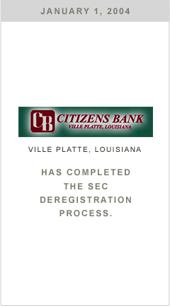 Citizens Bank has completed the SEC deregistration process