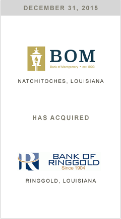 Bank of Montgomery is acquiring Bank of Ringold