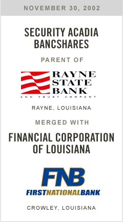 Security Acadia Bancshares, parent of Rayne State Bank, merged withFinancial Corporation of Louisiana, parent of First Bank